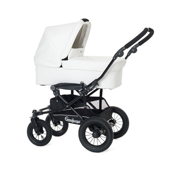 24516 - Super Viking Carrycot, White Leatherette, 13584 - Chassi Super Viking Black AIR
