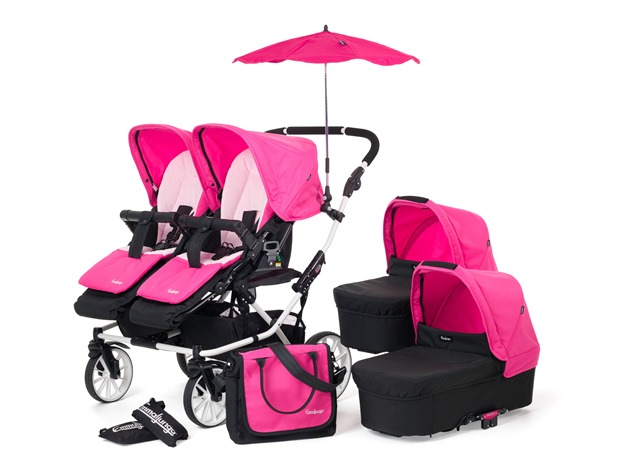 Double Viking Package2 raincovers, 1 changing bags Mood, 1 parasols, 2 seatpads, 2 hoods seat, 2 hoods carrycot